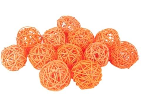 Плетеные шары из ротанга (набор:12 шт., d6 см, цвет: оранжевый)