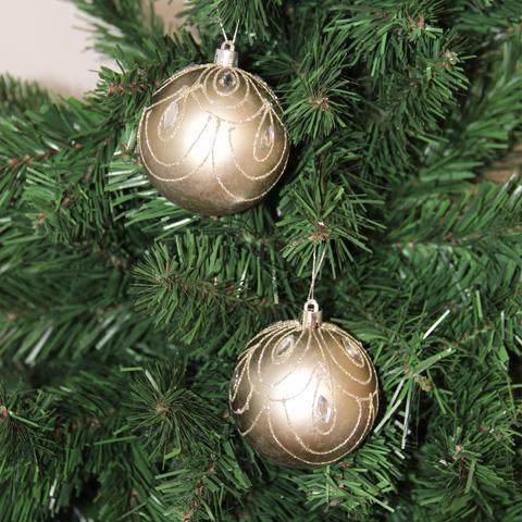 Набор шаров с узором 8см 3шт золото SYQC-011975