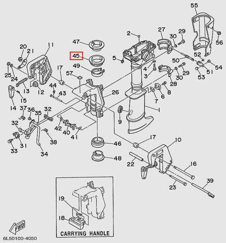 Втулка поворотная верхняя  для лодочного мотора T3S SEA-PRO (15-45)