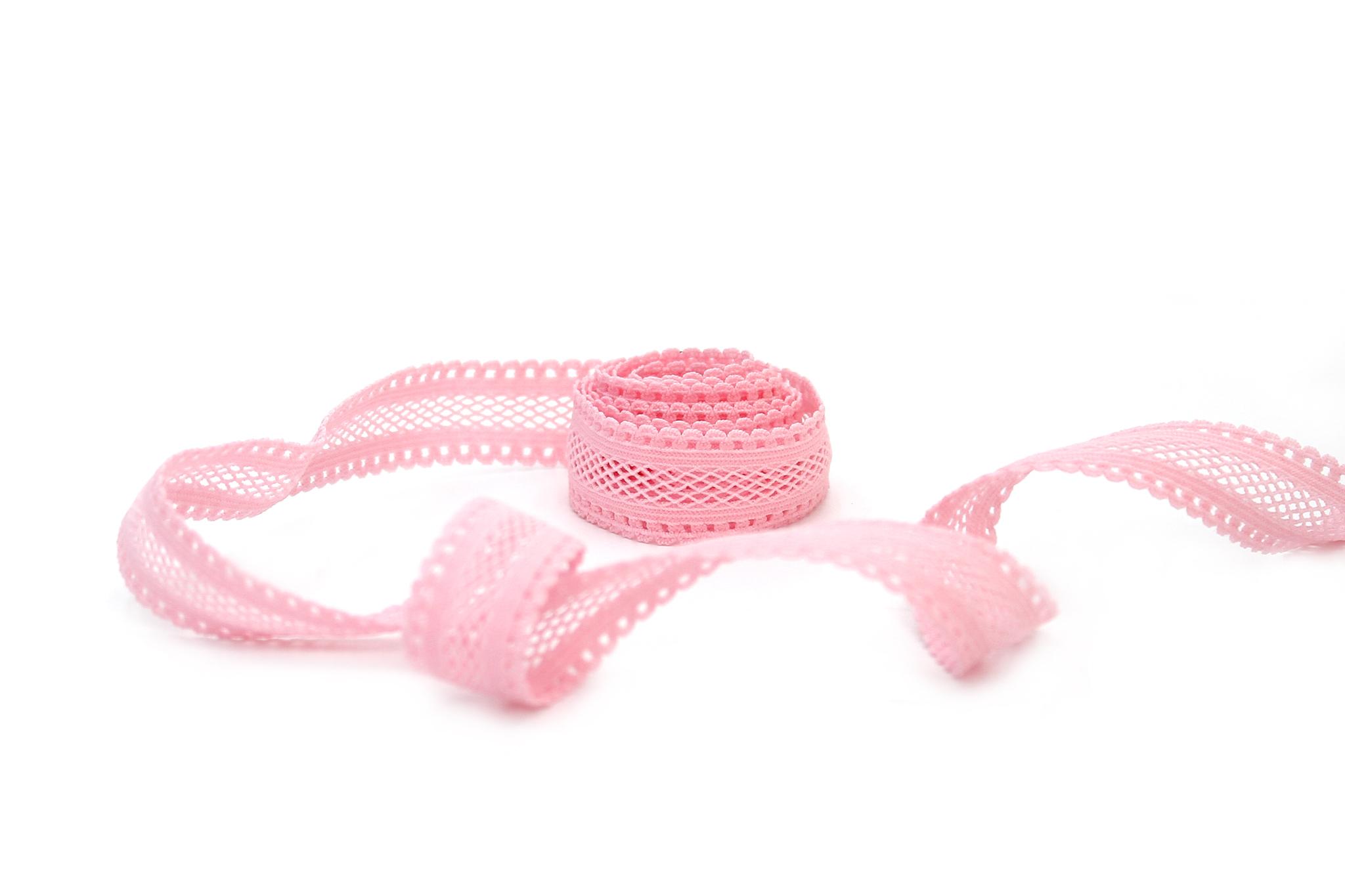 Кружево эластичное,18 мм,розовый