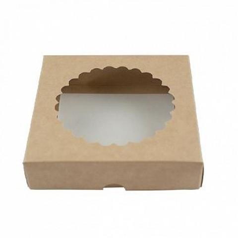 Коробка для печенья 12*12*3, крафт с окном