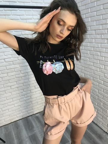 Трикотажная черная футболка Nadya