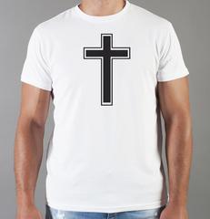 Футболка с принтом Крест, Бог есть Любовь, Христианство, Православие, Христианские символы, белая 0019