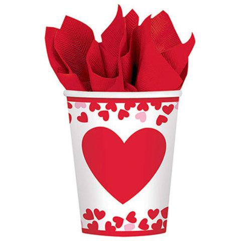 Стаканы бумажные День Сердец, 8 штук