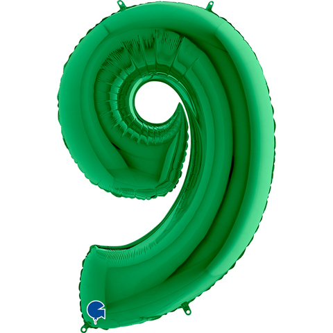 Шар цифра зеленая 9