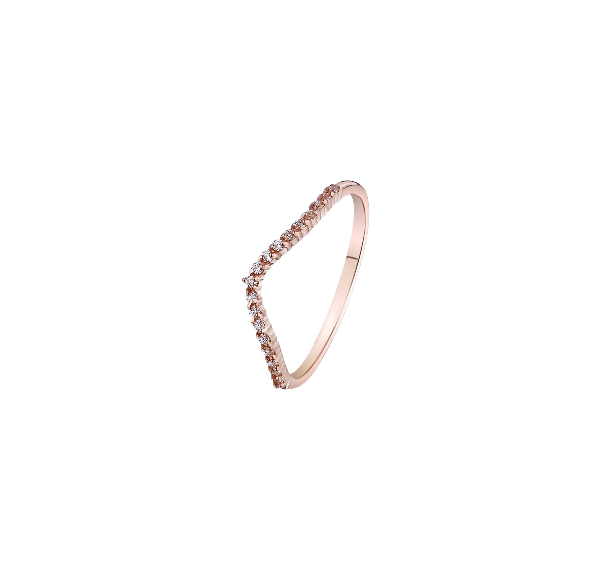 Тонкое кольцо-дорожка с россыпью кубических цирконов в розовой позолоте от MOONKA STUDIO