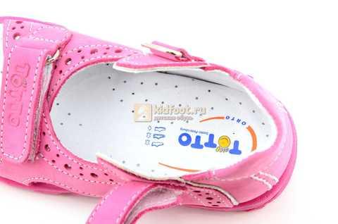 Босоножки Тотто из натуральной кожи с открытым носом для девочек, цвет розовый. Изображение 11 из 12.