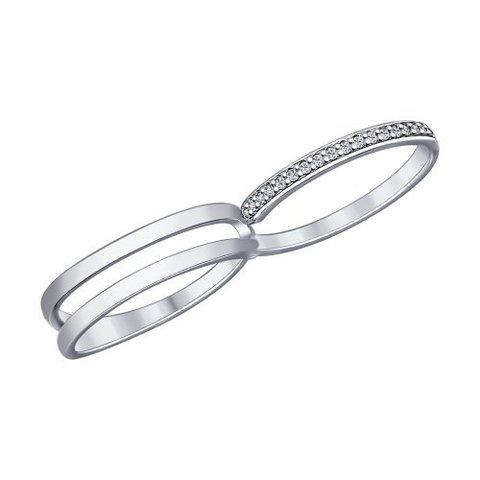 94012015- Кольцо на два пальца  из серебра с фианитами