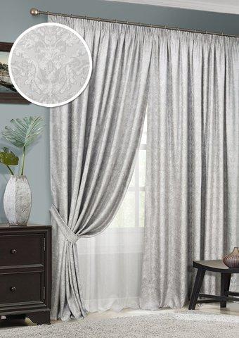 Комплект штор Ребекка жаккард светло-серый с подхватами и тюлем