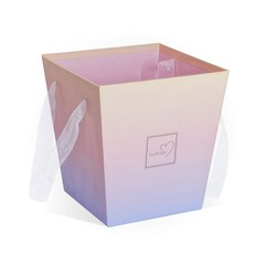 Коробка Для Цветов «Трапеция» Градиент Розовая, 17см*17см*18см, 1 шт.