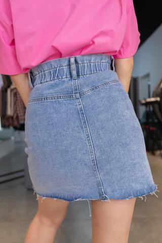 Джинсовая юбка миди с пуговицами недорого