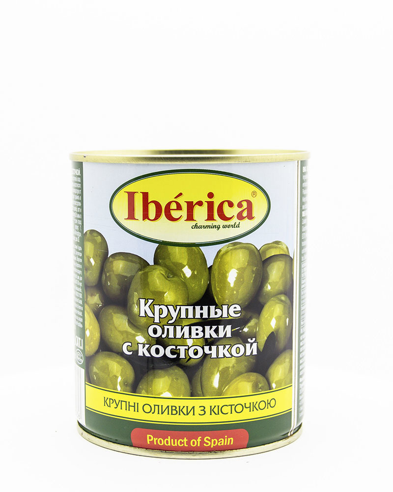 Оливки Iberica Гигантские с косточкой 875 гр.