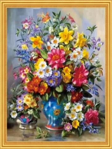 Алмазная Мозаика 50x65 Большой разноцветный букет цветов в вазе