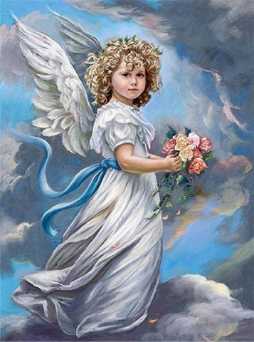 Алмазная Мозаика 40x50 Ангел с цветами на облаке (арт. S2868)