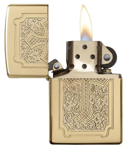 Зажигалка Zippo Armor с покрытием High Polish Brass, латунь/сталь, золотистая, 36x12x56 мм123