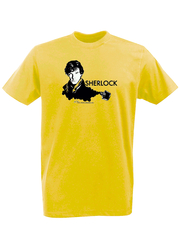 Футболка с принтом кинофильма Шерлок (Sherlock,Бенедикт Камбербэтч) желтая 0017