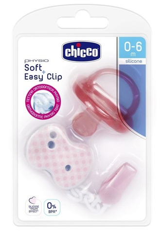 Chicco. Пустышка Physio Soft + прищепка, силикон, 0-6 м., розовая