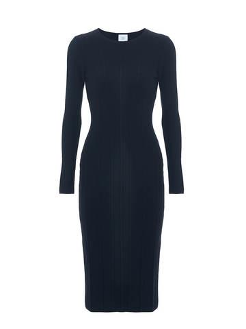 Женское платье черного цвета из шерсти - фото 1