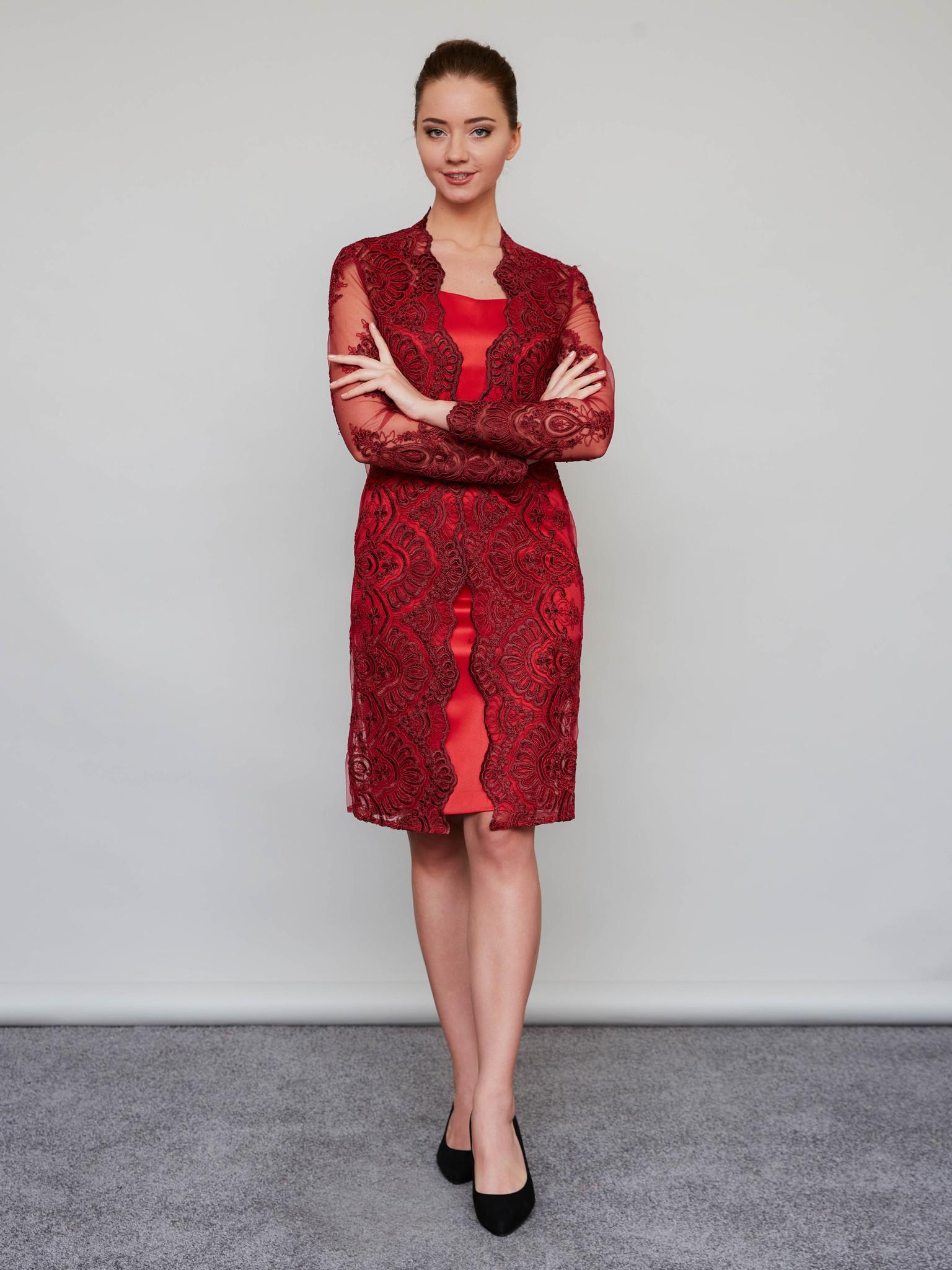 Нарядное платье с кружевным кардиганом (красный)