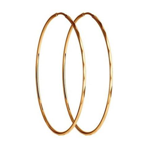 140010- Серьги-конго диаметр Ø50мм из золота 585 пробы с алмазными гранями
