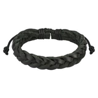 Браслет лёгкий плетёный косичка из натуральной кожи чёрный SPIKES SL0135-K