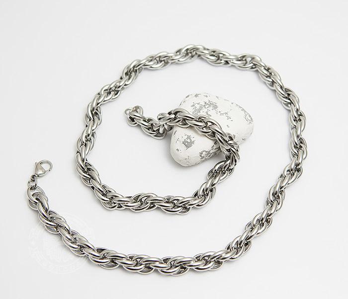 PM247-1 Массивная мужская цепь из стали оригинального плетения (60 см) фото 02