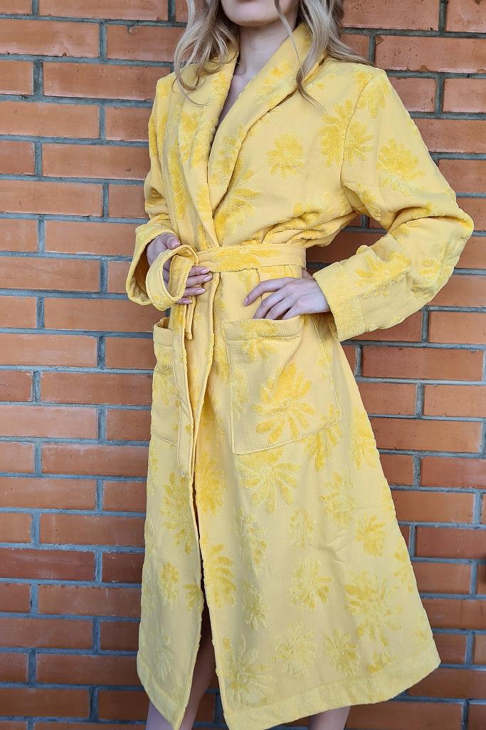 Длинный махровый халат с цветами Luna di Giorno