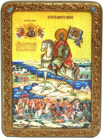 Инкрустированная икона князь Димитрий Донской 29х21см на натуральном дереве в подарочной коробке