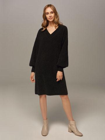 Женское платье черного цвета из ангоры - фото 1