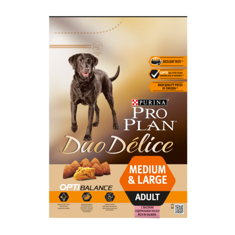 Purina Pro Plan Duo Delice Сухой корм для взрослых собак средних и крупных пород с лососем и рисом