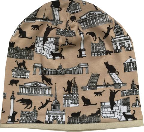 Шапочка бини с принтом Котзилла (котики на фоне достопримечательностей Санкт-Петербурга)