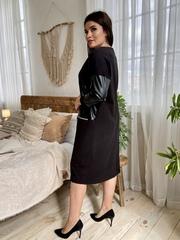 Шайн. Жіноче комбіноване плаття з еко-шкірою. Чорний