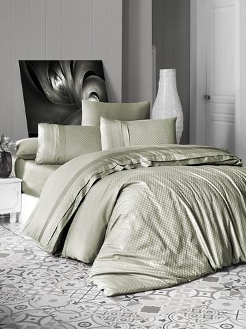 Комплект постельного белья DO&CO Сатин  жаккард DELUX 200*220 (50*70/2) (70*70/2) SQUARE цвет зеленый