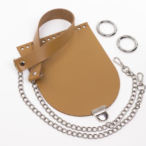 """Комплект для сумочки Орео """"Мёд"""". Ручка с цепочкой и замок """"Маленький литой"""""""