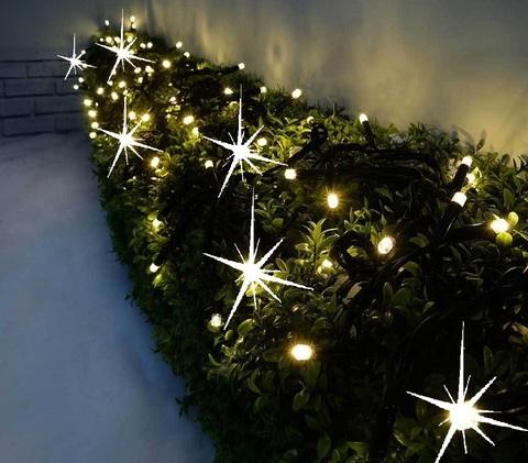 Каучуковая гирлянда нить теплобелый цвет свет свечения 10 метров профессиональная led на дерево