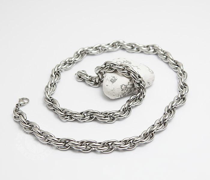 PM247-1 Массивная мужская цепь из стали оригинального плетения (60 см) фото 03