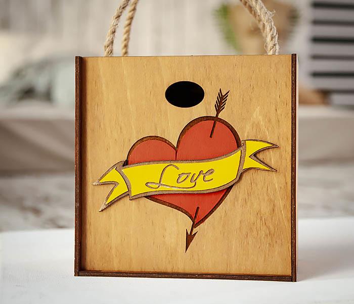 BOX239-2 Большая подарочная коробка с сердцем (17*17*10 см) фото 02