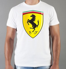 Футболка с принтом Феррари (Ferrari) белая 0011