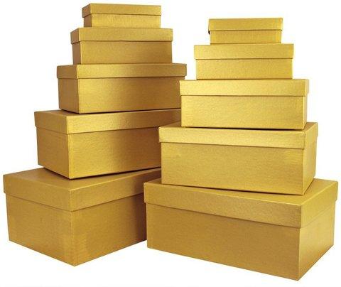 Коробка Золото, Металлик, 32*20*12 см