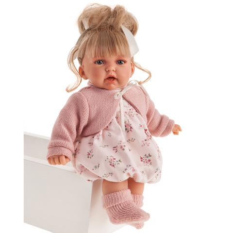 Munecas Antonio Juan Интерактивная кукла Лухан в светло-розовом, 27 см, мама, папа, смех (1232)
