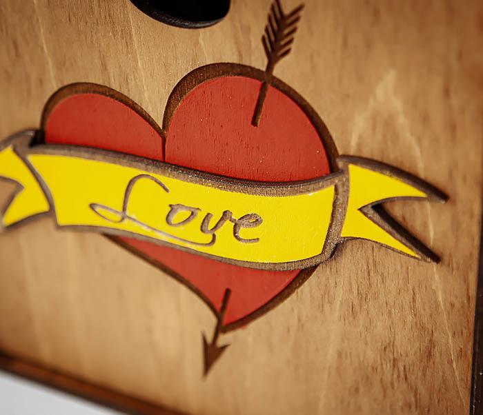 BOX239-2 Большая подарочная коробка с сердцем (17*17*10 см) фото 03