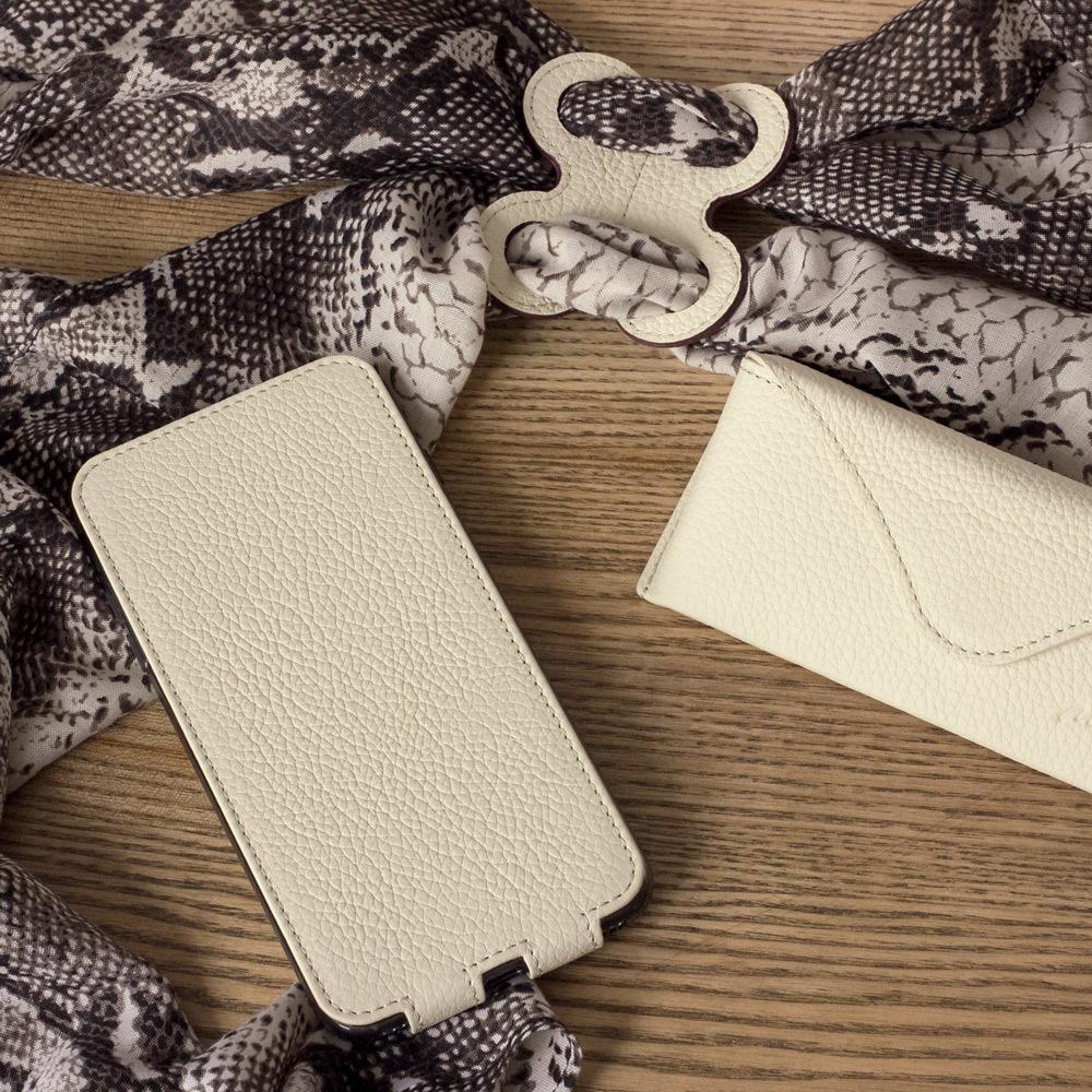 Чехол для iPhone 8 Plus из натуральной кожи теленка, молочного цвета
