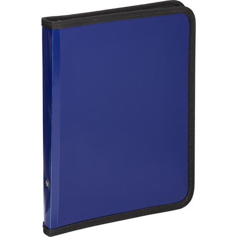 Папка-конверт на молнии плас.синяя  А4,  Attache