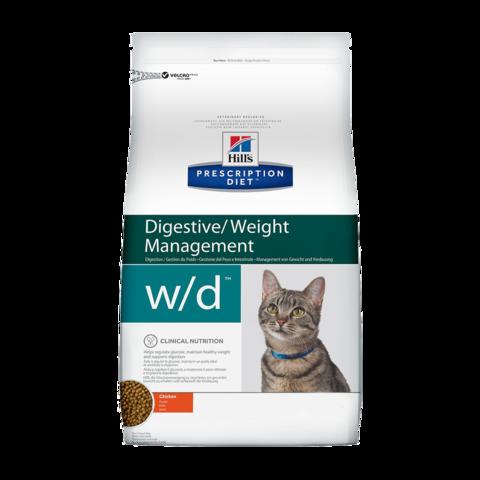 Hill's Prescription Diet W/D Сухой диетический корм для кошек при сахарном диабете, запорах и колитах