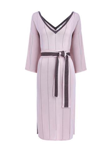 Женское платье светло-розового цвета из шелка на поясе - фото 1