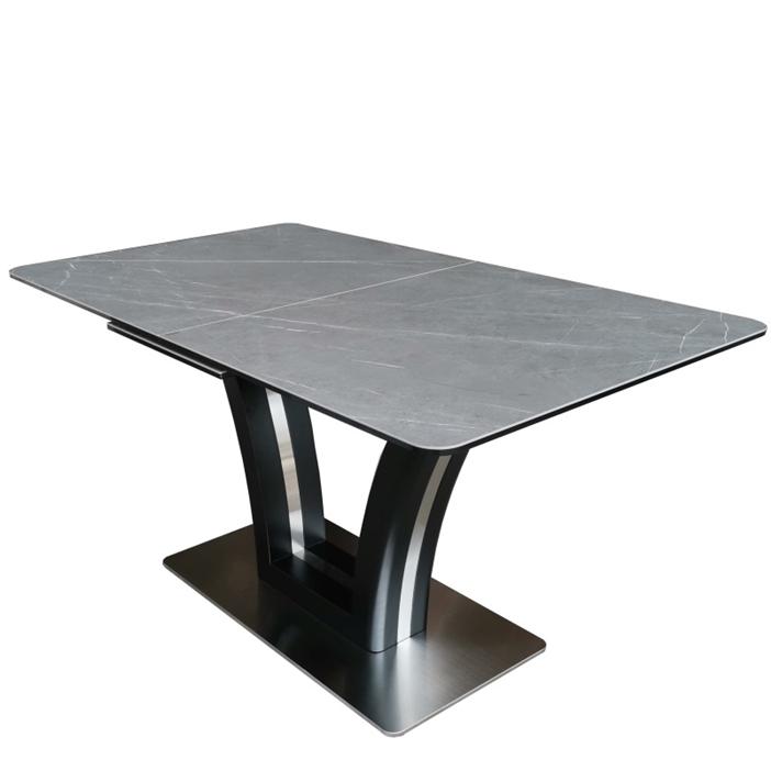 Стол обеденный FUSION (140) Matt Black/Dark Gray (Черный Матовый/Темно-Серая Керамика)