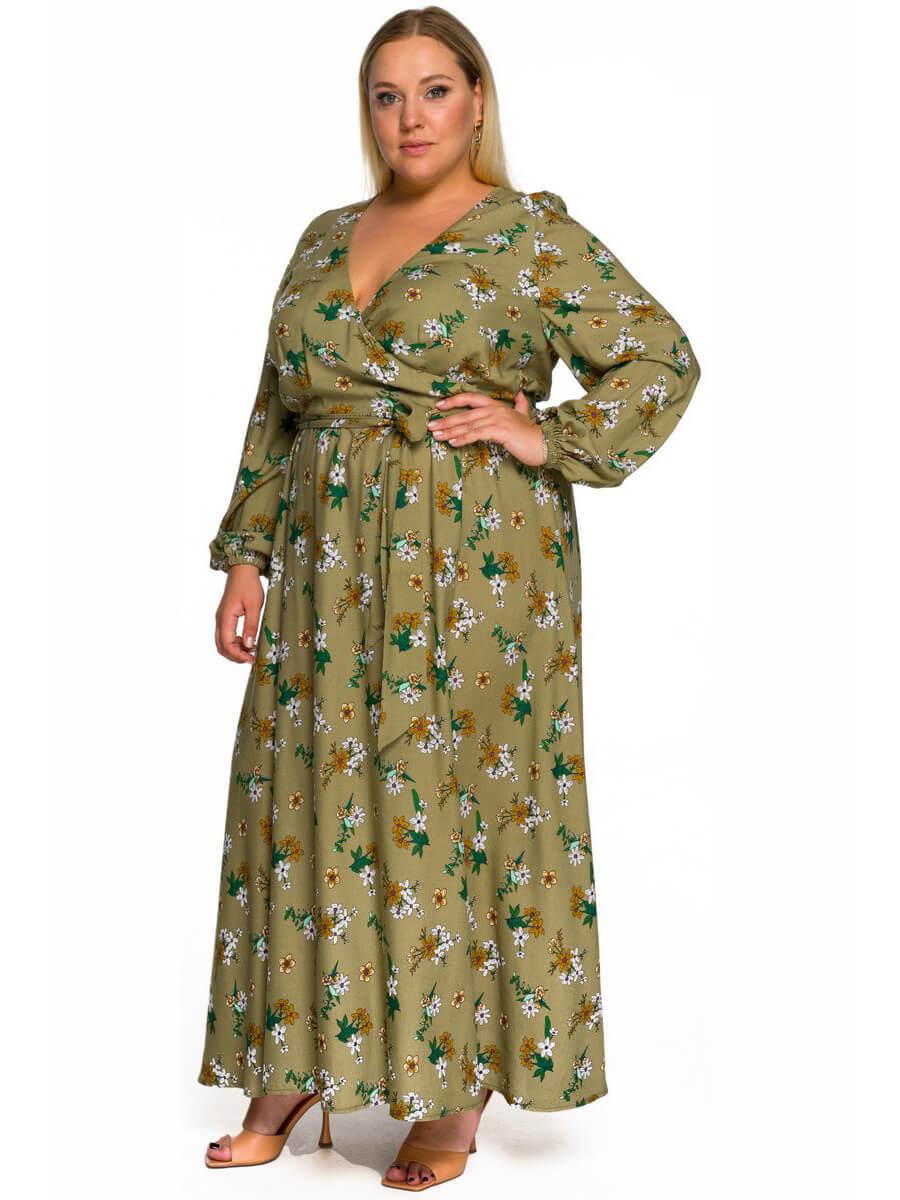 Длинное платье запашное, оливковое