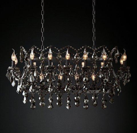 Подвесной светильник копия 19th C. Rococo Iron & Smoke Crystal Rectangular Chandelier 40