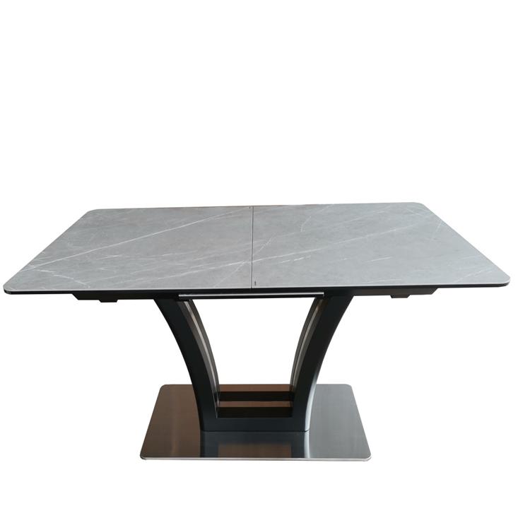 Стол обеденный FUSION (1400-1800X850X760) Matt Black/Dark Gray (Черный Матовый/Темно-Серая Керамика)