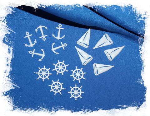 Заготовки фурнитура в морском стиле якорь, штурвал, корабль в морском стиле